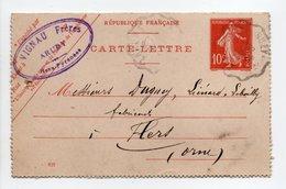 - CARTE-LETTRE VIGNAU Frères, ARUDY (Pyrénées-Atlantiques) Pour FLERS (Orne) 9.3.1909 - - Postwaardestukken