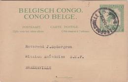1F. ENTIER DE CONGO BELGE. CIRCULEE DE LEOPOLDVILLE A BRAZZAVILLE, 1947. BELGISCH CONGO, ENTERO ENTIRE -LILHU - Enteros Postales