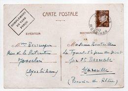 - CARTE POSTALE JOSSELIN (Morbihan) Pour MARSEILLE 16.8.1942 - 80 C. Brun Type Pétain - COMPLÉMENT DE TAXE PERCU - - Biglietto Postale