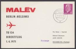 "Mi-Nr. PP10 D2/03, ""Malev"", 1971, Pass. Stempel, Mit Ankunft - DDR"