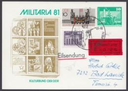 """Mi-Nr. PP16 C1/013a, """"Militaria"""", 81, Eilboten Mit Pass. Zusatzfr., Ankunft - DDR"""
