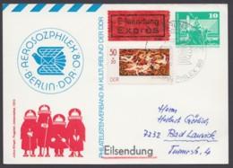 """Mi-Nr. PP16 C2/03a, """"Aerosozphilex"""", 80, Eilbote Mit Guter Zusatzfrankatur, Ankunft - [6] Oost-Duitsland"""