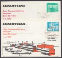 """Mi-Nr. PP16 D2/03, 17 D2/01, """"Flughafen Bln- Schönefeld"""", 1976, Beide Karten - Postales Privados - Usados"""