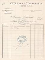 98000 Monaco Caves De L'Hotel De Paris à Monte Carlo Fourniture Alimentaire à Maubertt Monte Carlo 18.11.1914 - Autres
