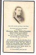 Carte Décès René Prentgarbe époux Dame Agnès Labelle. 1940. - Avvisi Di Necrologio