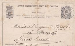 ENTIER - ETAT INDEPENDANT DU CONGO, CIRCULEE DE LEOPOLDVILLE A BOMA, 1892. CONGO BELGE, BELGISCH CONGO ENTIRE -LILHU - Entiers Postaux