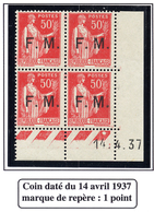 FRANCE TIMBRE FM N°7 BLOC DE QUATRE AVEC COIN DATE SANS CHARNIERE - Franchise Stamps