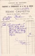 98000 Monaco Monte Carlo Crovetto Transport De Meuble à St Martin Vésubie Pour Maubert Monte Carlo 1911 - Autres