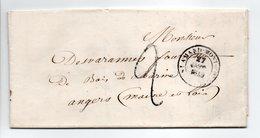 - Lettre SAINT-AMAND-MONTROND (Cher) Pour ANGERS (Maine-et-Loire) 27 OCT 1849 - Taxe Manuscrite 2 Décimes - - Postmark Collection (Covers)