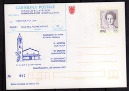 ITALIA REPUBBLICA ITALY REPUBLIC 2001 SAN MINIATO MOSTRA FILATELICA NUMISMATICA INTERO CARTOLINA CARD NUOVA UNUSED - 6. 1946-.. Repubblica
