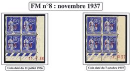 FRANCE TIMBRE FM N°8/9 : DEUX BLOCS DE QUATRE DE CHAQUE AVEC COIN DATE SANS CHARNIERE - Franchise Militaire (timbres)