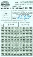 """Coupon D'achat 1948 France Cluny Saone&Loire  Pour """" 5 Kilo ARTICLES DE MENAGE EN FER """" Carte Ravitaillement - Historische Documenten"""