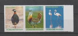 Turkménistan 2017 Bande De 3 Timbres Oiseaux ** MNH - Turkménistan