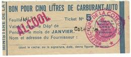 """Coupon D'achat 1944 France Cote D'Or Pour """" BON POUR CINQ LITRES DE CARBURANT-AUTO """" Carte Ravitaillement - Historische Documenten"""