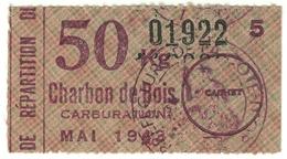 """Coupon D'achat 1944 France Pour """" 50 Kilo Charbon De Bois """" Carte Ravitaillement - Documents Historiques"""