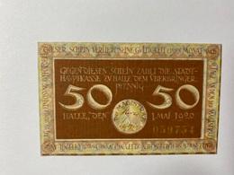 Allemagne Notgeld Halle 50 Pfennig - [ 3] 1918-1933 : République De Weimar