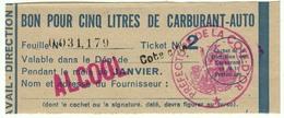"""Coupon D'achat 1944 France Cote D'Or Pour """" BON POUR CINQ LITRES DE CARBURANT-AUTO """" Carte Ravitaillement 2 - Historische Documenten"""