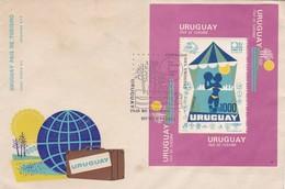 URUGUAY, PAIS DE TURISMO. 1974, FDC ENVELOPE AVEC BLOC, HOJA, BLOCK. SOBRE PRIMER DIA. TOURISM TOURISME -LILHU - Vacaciones & Turismo