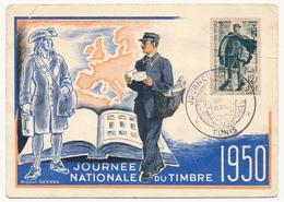 TUNISIE - Carte Fédérale - Journée Du Timbre 1950 TUNIS Ayant Voyagé - Tunisie (1888-1955)