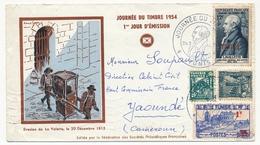 TUNISIE - Enveloppe Fédérale - Journée Du Timbre 1954 - Lavalette + Compléments -  TUNIS Ayant Voyagé Pour Yaoundé - Storia Postale