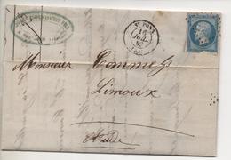 Ecrite à RIOLS (Hérault) Cachet Poste De SAINT-PONS Du 10 Juillet 1862 Par BOUSQUET - 1849-1876: Période Classique