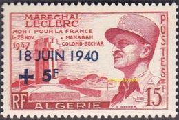 Algérie Militaria N° 345 ** Maréchal LECLERC - Surcharge - Anniversaire De La Date De L'appel Du Général De Gaulle - Militaria