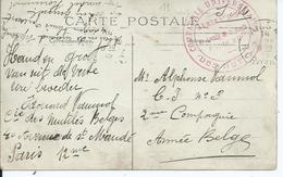 Zichtkaart Parijs Naar C.I. 3 - Nevenstempel COMPAGNIE UNIVERSITAIRE DES MUTILES / ARMEE BELGE - Guerre 14-18
