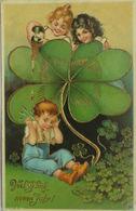 """Neujahr, Kinder, Sekt,  Kleeblatt""1905, Golddruck ♥  - Neujahr"