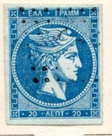 GRECE (Royaume) - 1863-68 - N° 21a - 20 L. Outremer - (Tête De Mercure) - (Avec Chiffre Au Verso) - Gebraucht