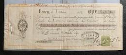 60208 - Facture Et Mandat B. Roy Vevey Fonderie 8.10.1877 Timbre De Commerce Vaud 10 Ct Vert - Switzerland