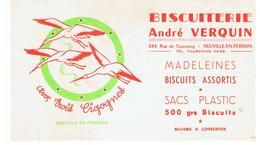 Buvard Biscuiterie André Verquin 244, Rue De Tourcoin Neuville-En-Ferrain Aux Trois Cigognes - Cake & Candy