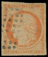 """COLONIES GENERALES Poste O - 13b, """"4"""" Large, Pelurage, Signé Scheller: 40c. Orange - Cote: 700 - Non Classés"""