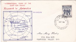 """""""INTERNATIONAL YEARS OF THE QUIET SUN 11964-65"""" RESEARCH IN ANTARTICA. MAWSON, AUSTRALIAN ANTARTIC, 1966 FDC  -LILHU - Année Polaire Internationale"""