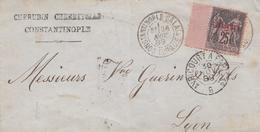 550  - Involucro Da Constantinople A Lyon Del 1889 Con Piastre. 25 -sopra Stampato In Rosso -   Leggi - 1876-1898 Sage (Tipo II)