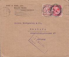 Great Britain EYRE & SONS Ryland Works CHESTERFIELD & LONDON 1923 Cover Brief HAMBURG Germany 2x George V. Stamps - 1902-1951 (Kings)