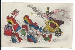 Carte Patriotique Drapeux Alliés En Papillons Tirant Le Char De La Victoire - Patriotiques
