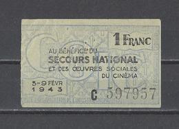 FRANCE. Bon De Solidarité Secours National  1 Franc  1943 - Bons & Nécessité