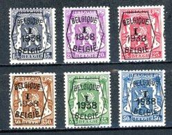 BE  PRE333 - 338   ---   Surcharge A  --  X  --  Infime Charnière  --  Etat Parfait... - Typos 1936-51 (Petit Sceau)