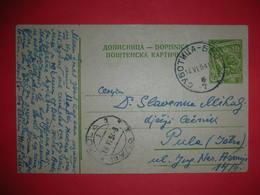 Yugoslavia SFRJ,postal Stationery,railway Stamp Subotica-Beograd,train Seal 7,ambulant Post,vintage Postcard,cyrilic - Interi Postali