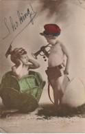 """QU 20- """" GRAINE DE BOCHE , GRAINE DE POILU """" - ENFANTS DANS CHOU ET OEUF - GUERRE 1914/1918 - 2 SCANS - Humoristiques"""