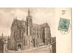 Rare Allemagne Empire Timbre 5 Pfg Avec Cachet Allemand De Ville D'Alsace / Lorraine (Metz) Sur CPA De Metz - Allemagne
