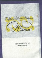 Serviette Papier Paper Napkin Tovagliolino Caffè Bar Caffetteria Gelateria Pasticceria ROMA Precisse Lecce - Serviettes Publicitaires