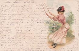 Illustrateur Jeune Femme Sur Une Balancoire Précurseur  1900 (lot Pat 96/1) - Femmes