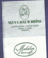 Serviette Papier Paper Napkin Tovagliolino Caffè Bar Caffetteria Pasticceria NEUV CAVAL'D BRONS Torino Malabar - Servilletas Publicitarias