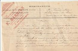 Trouville-s-Mer : Mémorandum Du Huissier MARMION, 8 Quai Tostain. - Unclassified