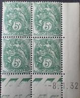 R1615/1513 - 1932 - TYPE BLANC - BLOC - N°111 TIMBRES NEUFS** CdF Avec Date - Ecken (Datum)