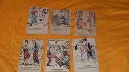 LOT DE 6 CARTES POSTALES ANCIENNES NON CIRCULEES DATE ?.../ GAULOISERIES FRANCAISES..PAS MOYEN, BIEN REPONDU, MOTIF DE R - Humour