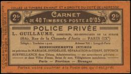FRANCE Carnets ** - 158-C2, Série 11, 40 X 5c. Semeuse Orange, (légers Points De Rouille): Police Privée/Aigle - Cote: 1 - Usage Courant