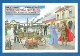 CPM Illustrateur Bernard Veyri - L' Histoire Du Chemin De Fer Salon De Bergerac 2016 Tirage 2000 Exp - Veyri, Bernard