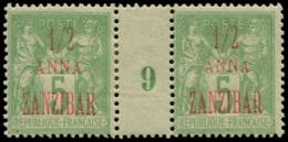 """ZANZIBAR Poste * - 18, Paire Millésime """"9"""": 1/2a. S. 5c. Vert - Cote: 100 - Non Classés"""